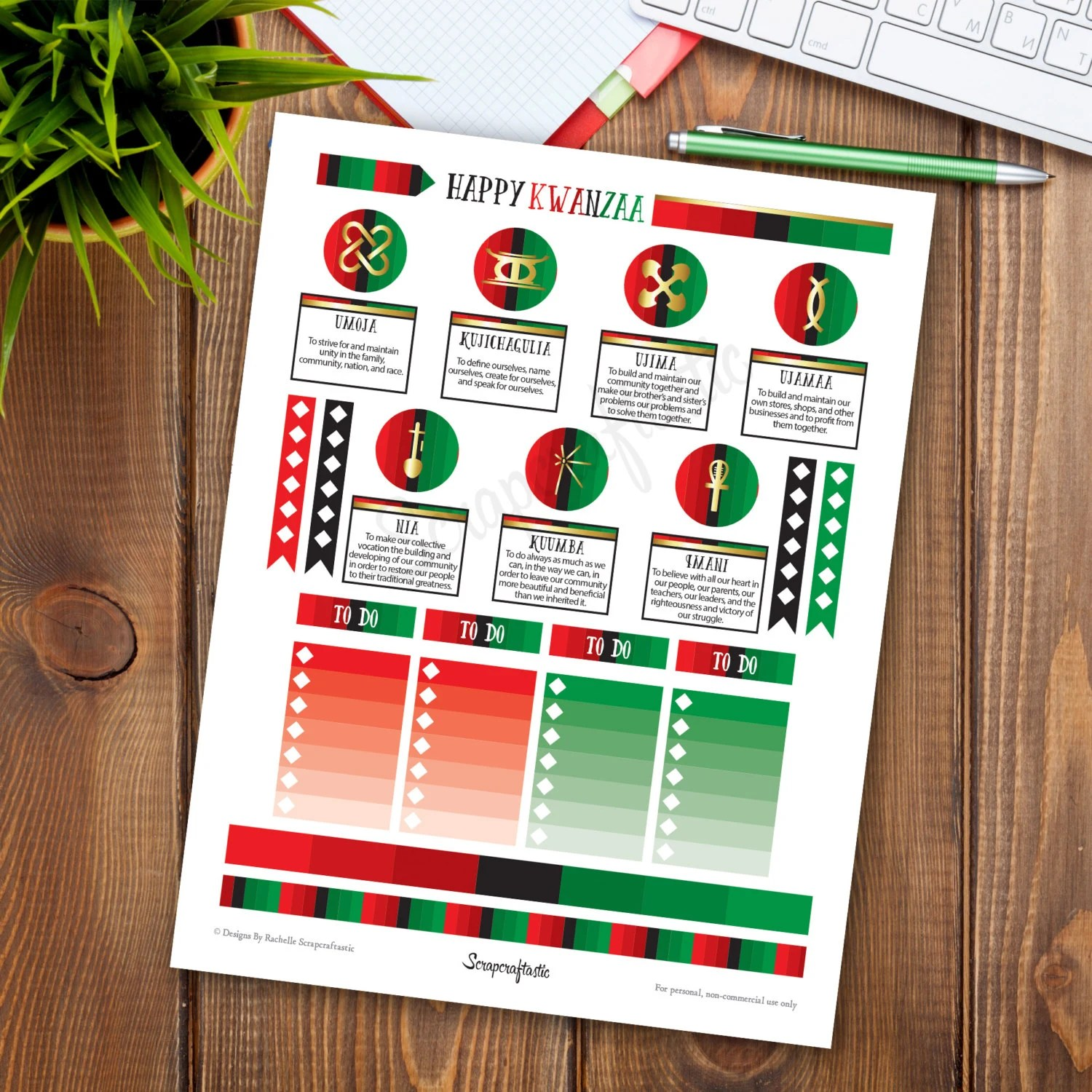 Kwanzaa Printable Planner Stickers For Mambi Happy Planner