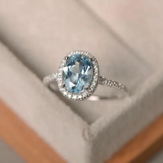 March Birthstone Aquamarine Ring Sterling Silver Halo Ring
