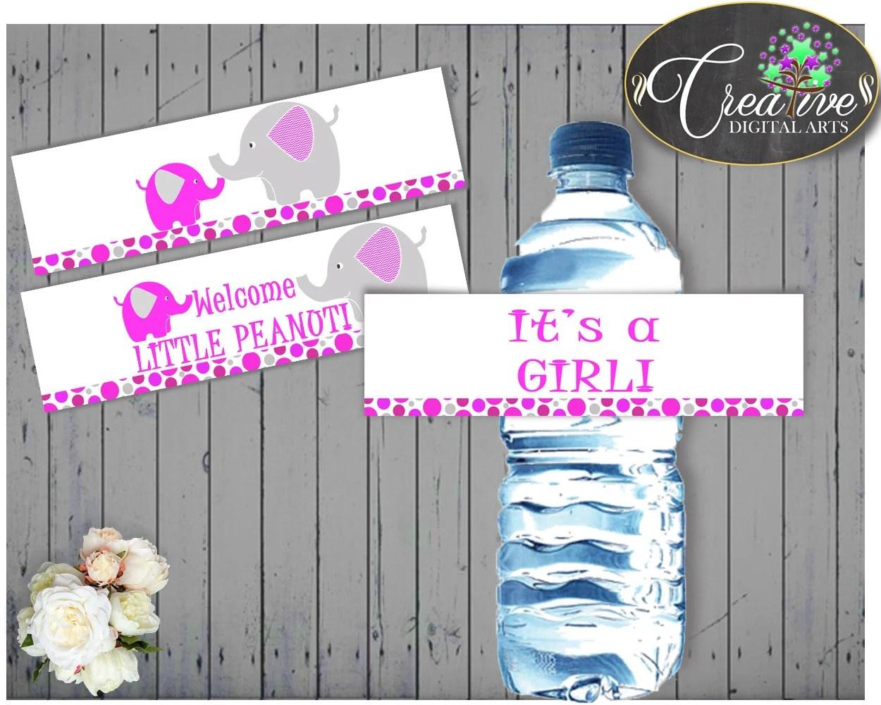 Elephant Baby Shower Bottle Labels Girl Printable Magenta Pink