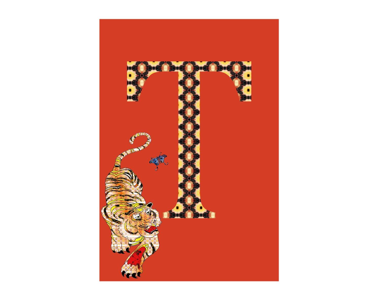 T Is For Tiger Alphabet Animal Art Print Nursery Art School