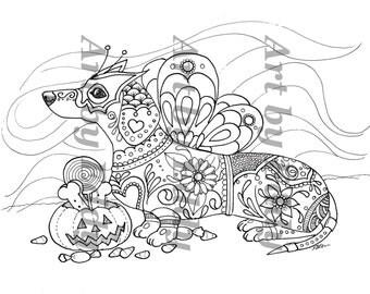 dachshund coloring book etsy no