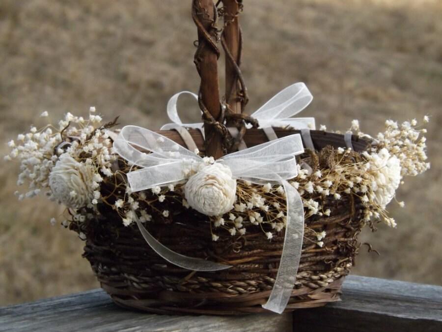 Rustic Flower Girl Basket With Preserved Babys Breath Sola