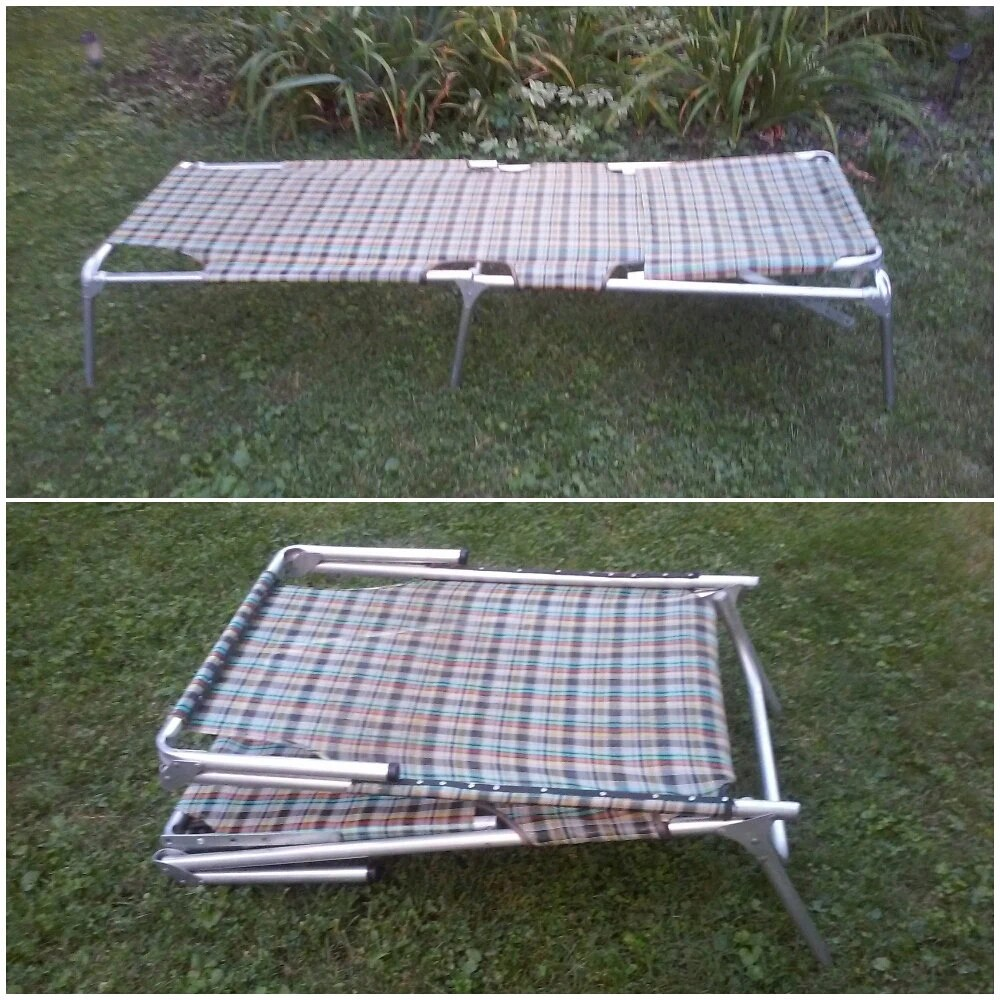 Vintage Lawn Furniture Retro Aluminum Chaise Lounge Folding Patio Chair Hau