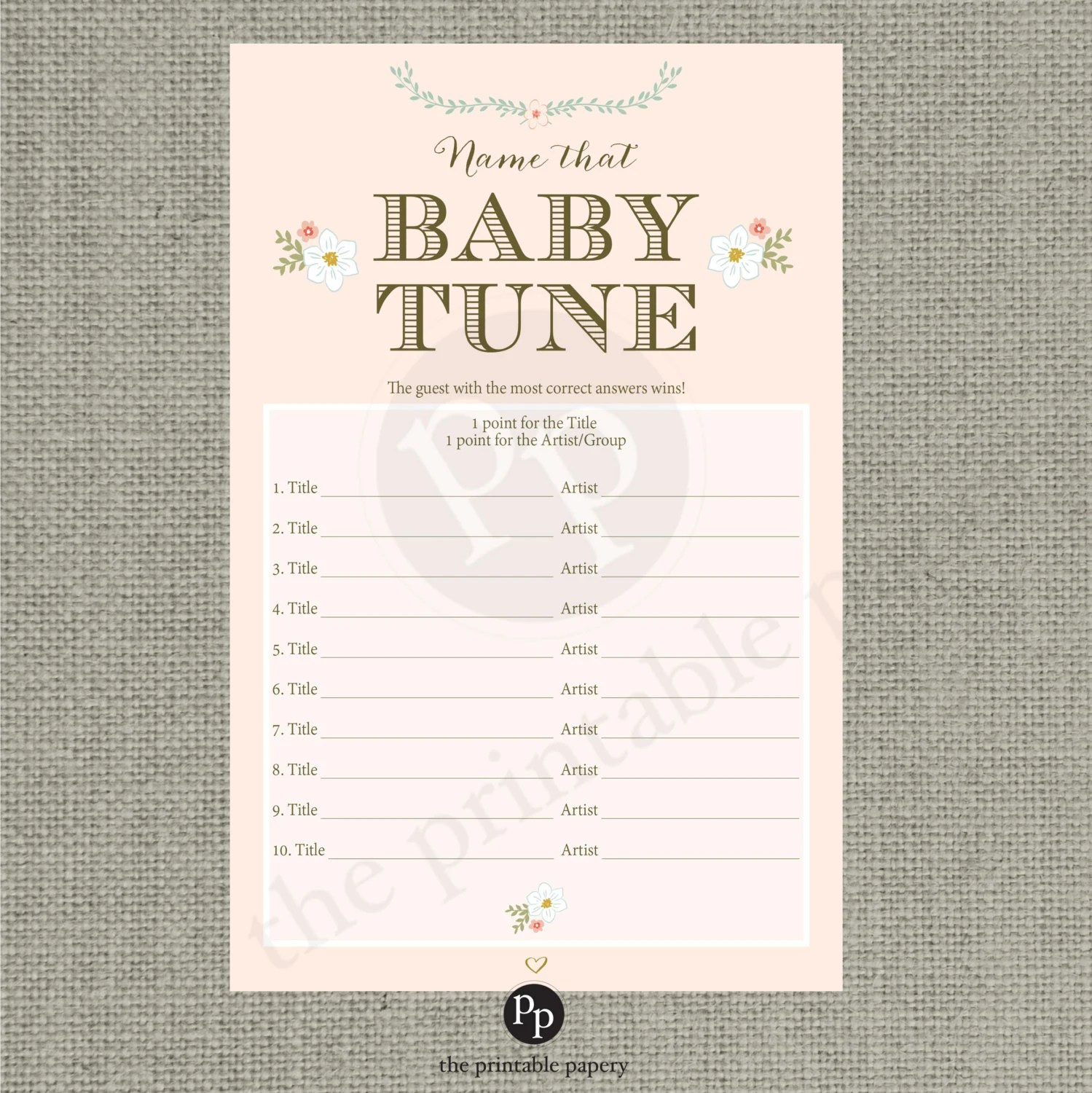 Printable Name That Baby Tune Baby Shower Game
