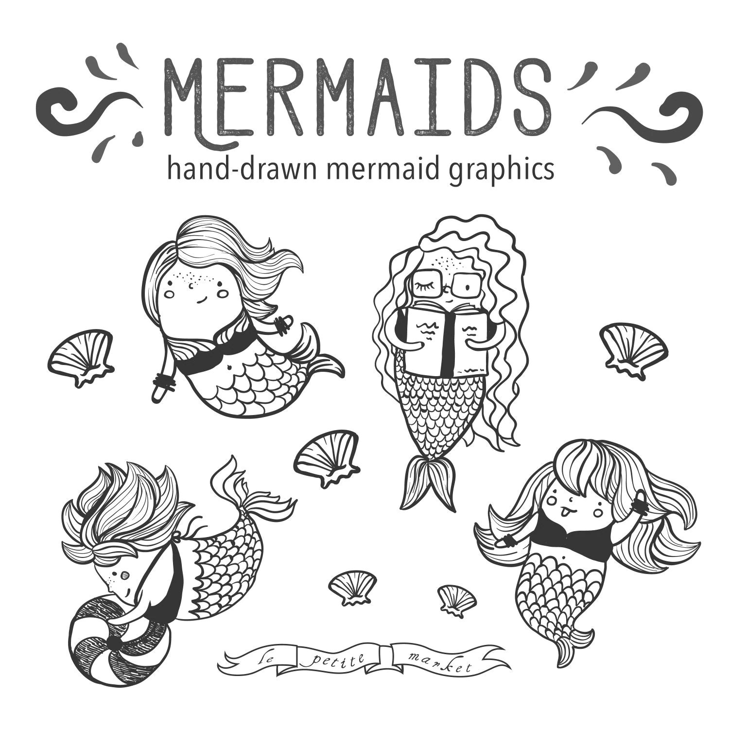Hand Drawn Cute Mermaid Clip Art Illustrated Mermaid Clipart