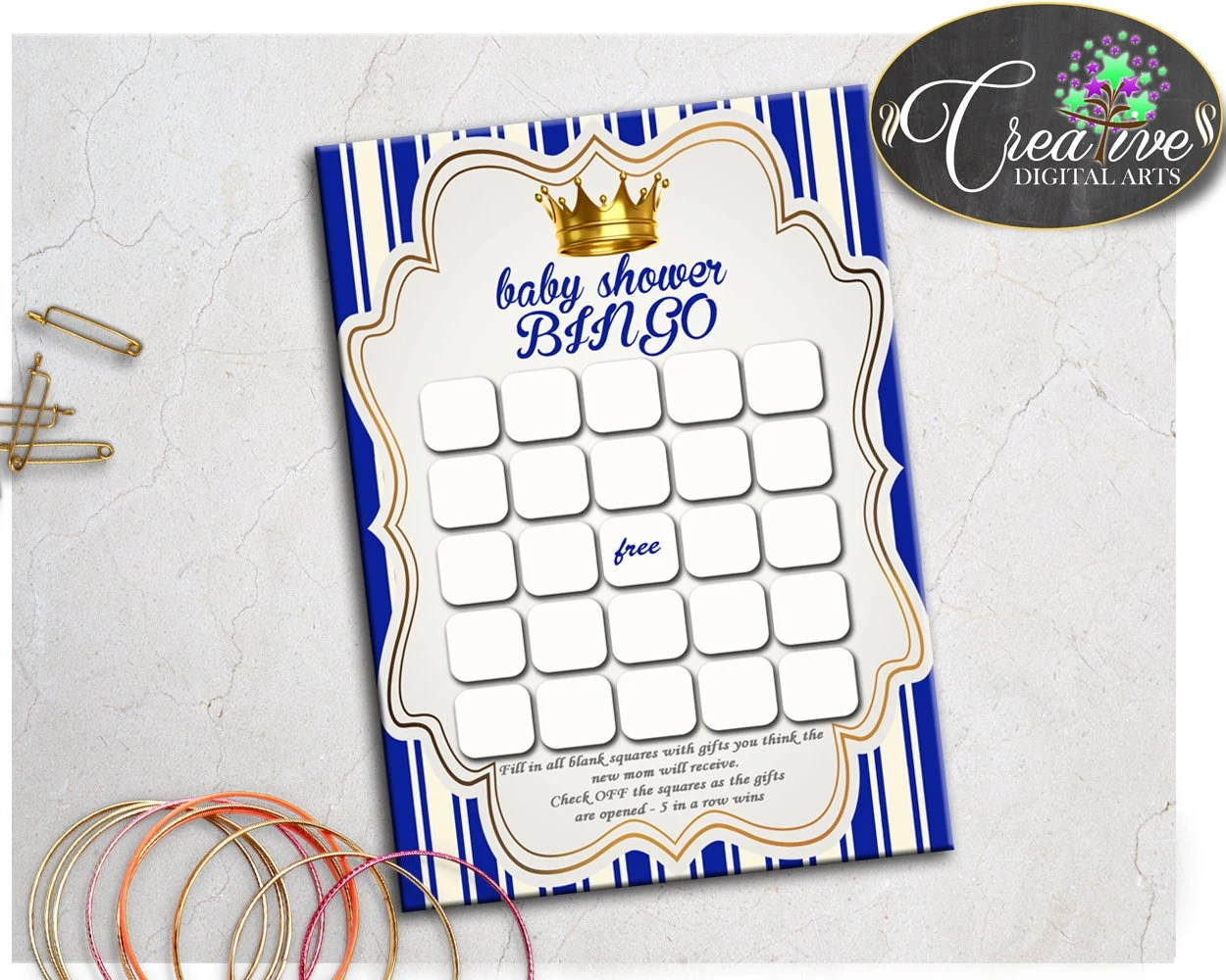 Little Prince Baby Shower Printable Bingo T Blank Cards