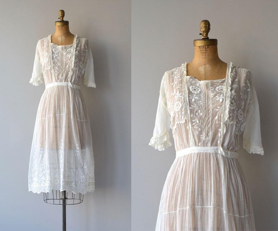 Avalon Dress Cotton 20s Dress Vintage 1920s Tea Dress