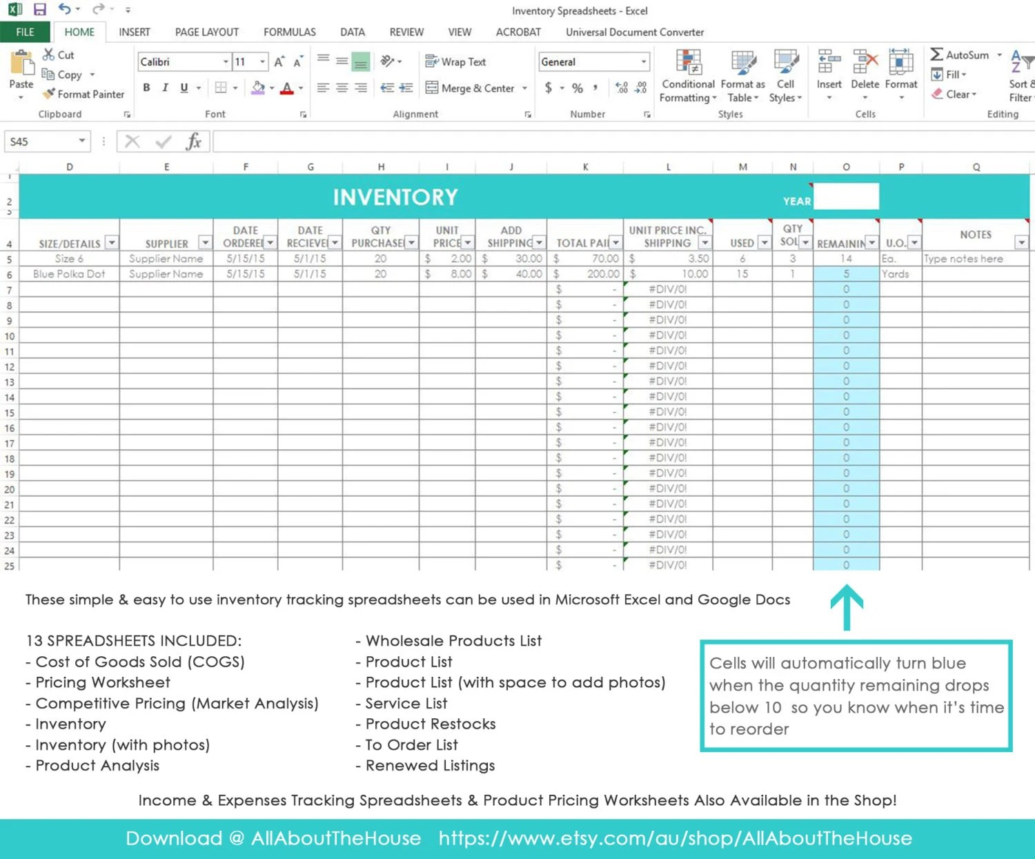 Inventory Spreadsheet Etsy Seller Tool Shop Management Supplies Materials Cost Of Goods Sold