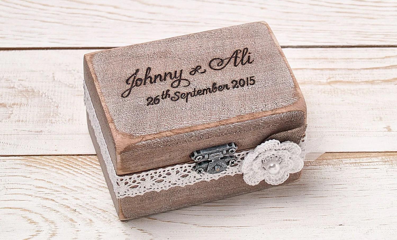 Ring Bearer Box Wedding Ring Box Personalized Ring Box Rustic