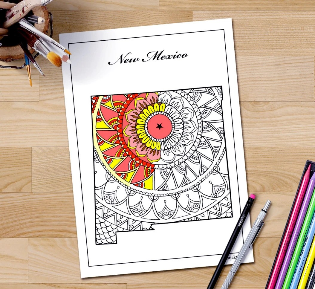 New Mexico Map Adult Coloring Page Printable July 4th Art