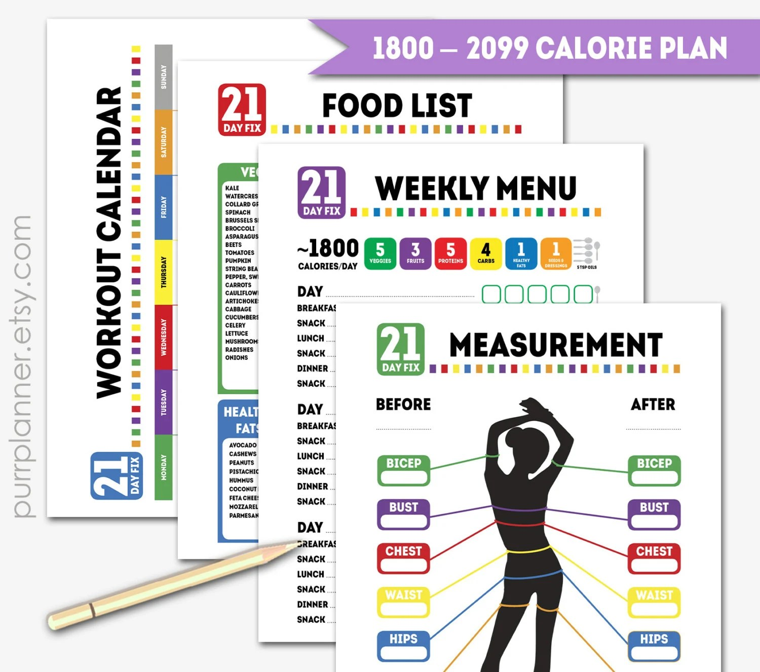 Printable Calorie 21 Day Fix Journalt And By Purrplanner