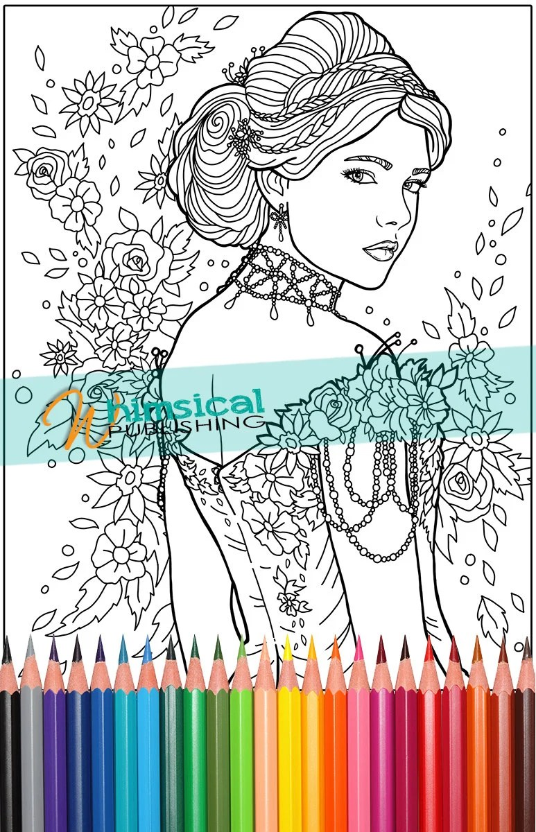 pretty coloring pages floral coloring pages by whimsicalpublishing