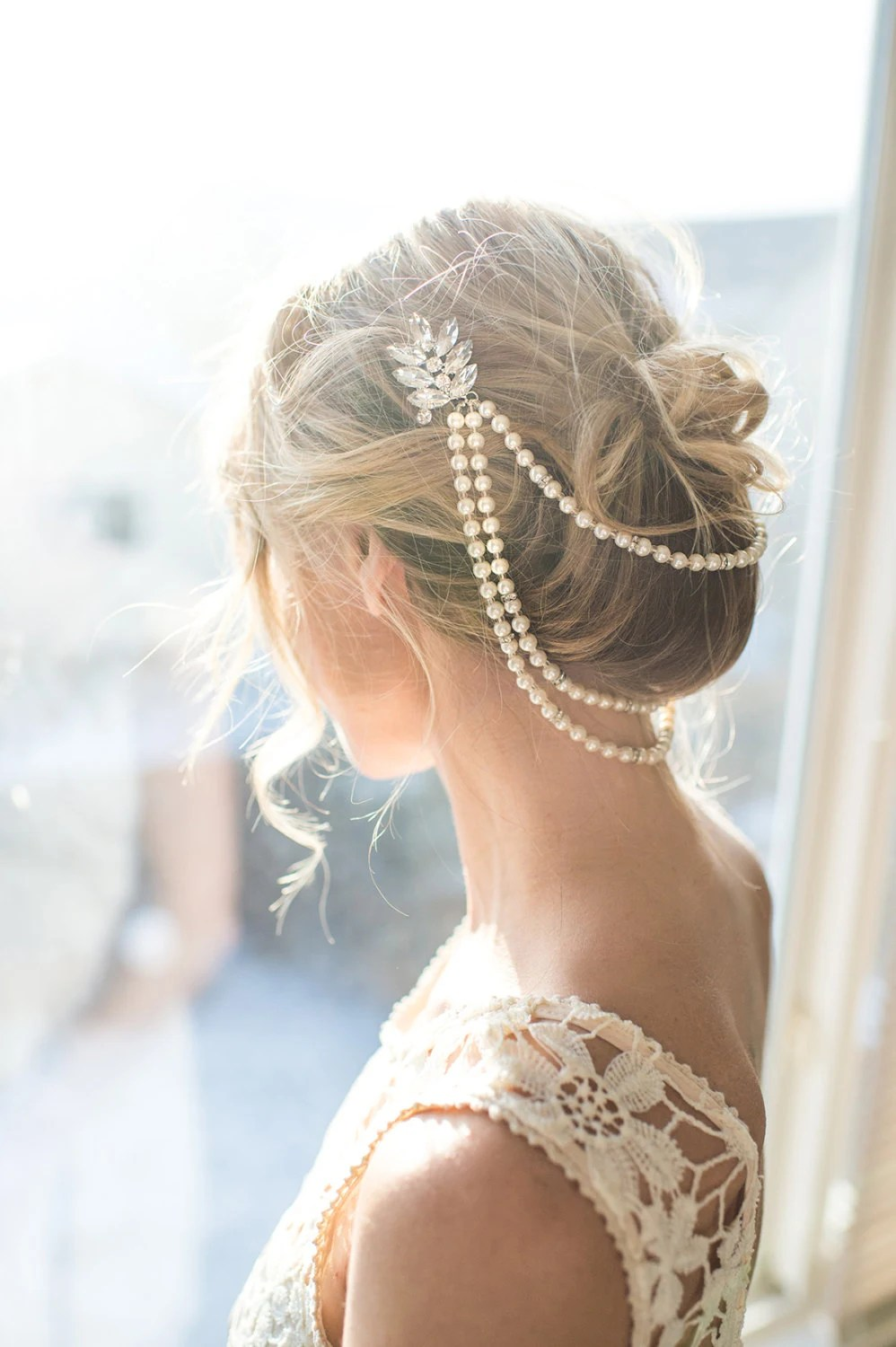 Pearl Bridal Hair Chain Vintage Style Bridal By