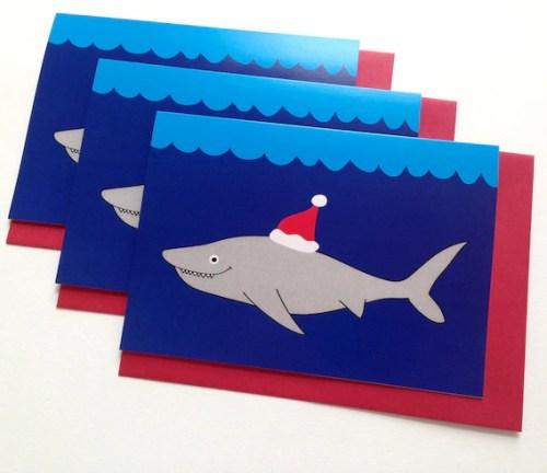 Christmas Card Pack of 6, Funny Shark Christmas card, Weird Holiday card, Merry Christmas Shark, Jaws Christmas cards, Happy Holidays Shark