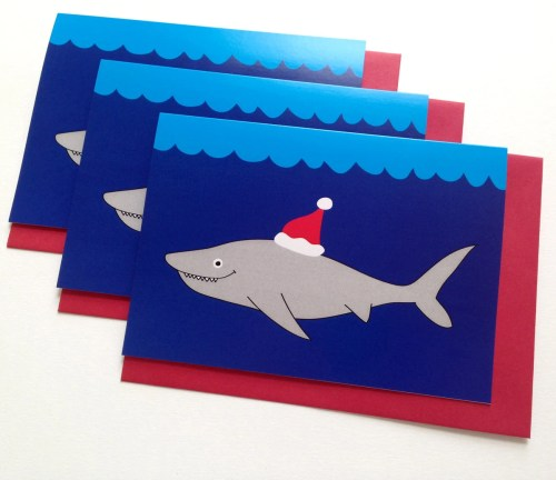 Christmas Card Pack of 6, Funny Shark Christmas card, Weird Holiday card, Merry Christmas Shark, Jaws Christmas cards, Happy Holidays Shark
