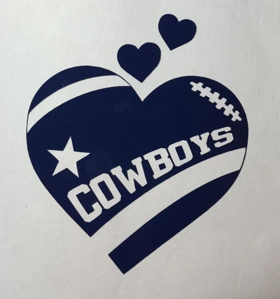 Download Dallas Cowboys Football Heart Vinyl Decal Bumper Sticker