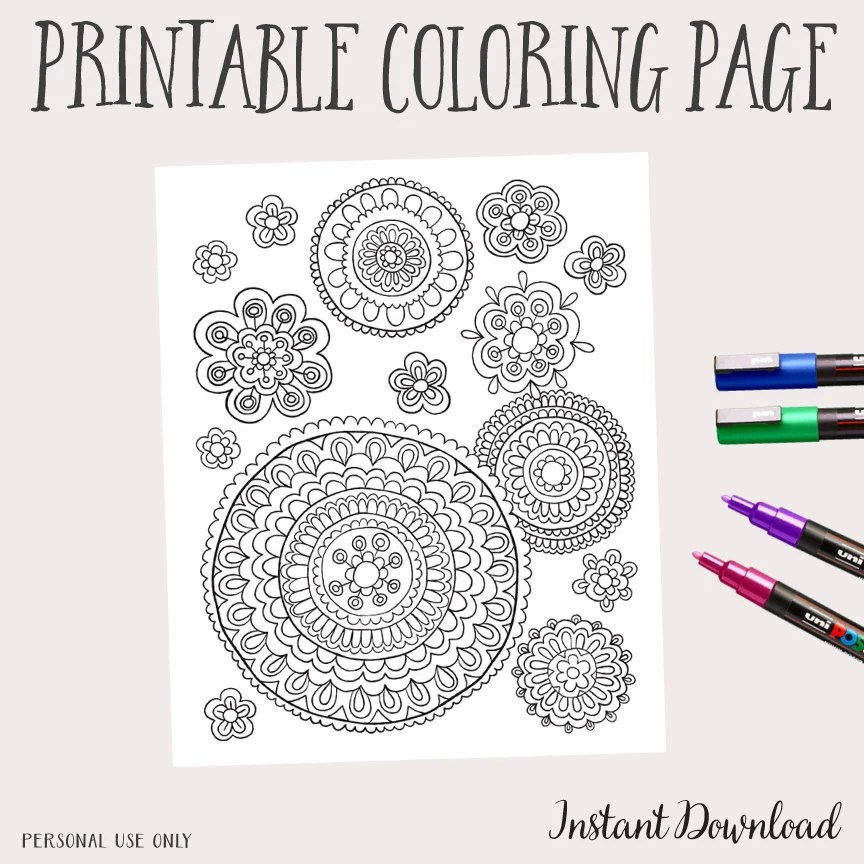 printable instant download adult coloring book by paulakimstudio