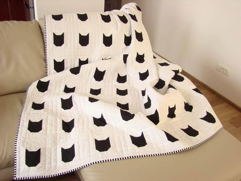 Modern Quilt Black Amp White Quilt Custom Quilt Cat Quilt