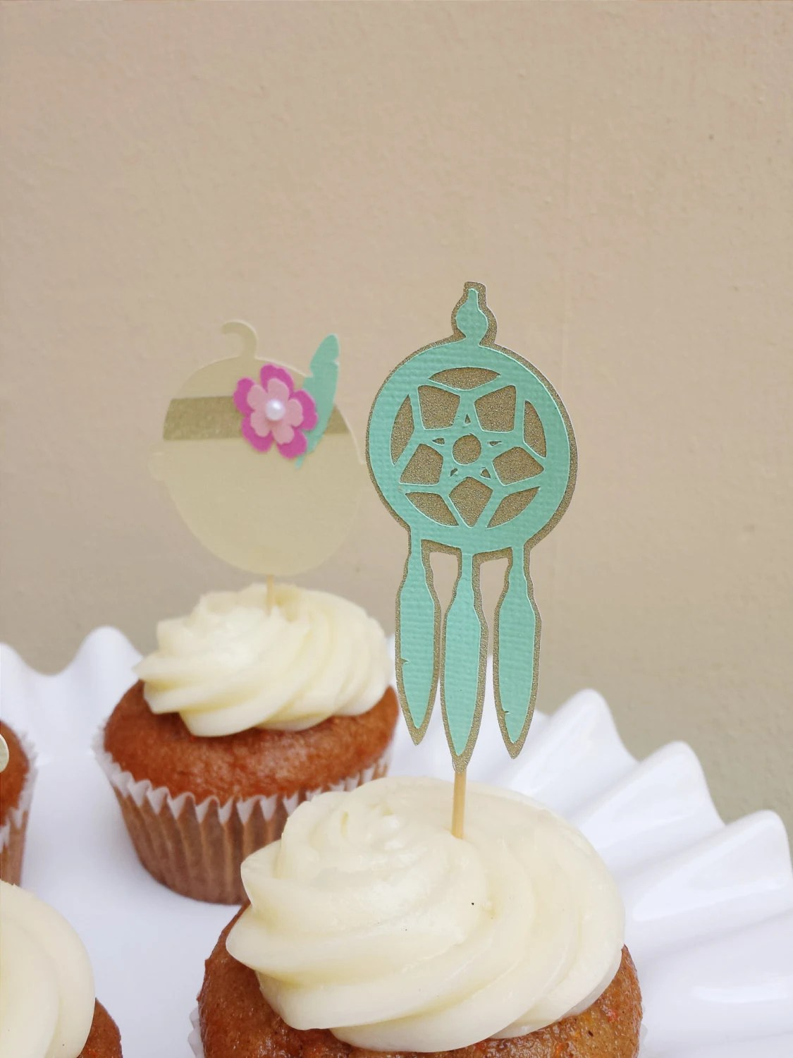 BOHO Chic Baby Shower Cupcake Toppers Set Of By EMTsweeetie