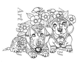 art of dachshund single coloring page winter in by artbyeddy
