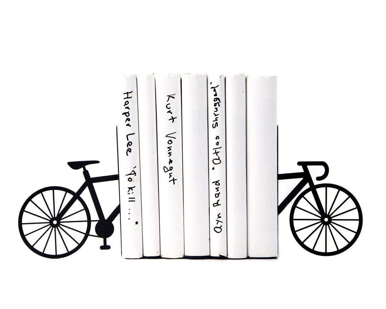 Unique Metal Bookends My Bike Shelf Decor Functional