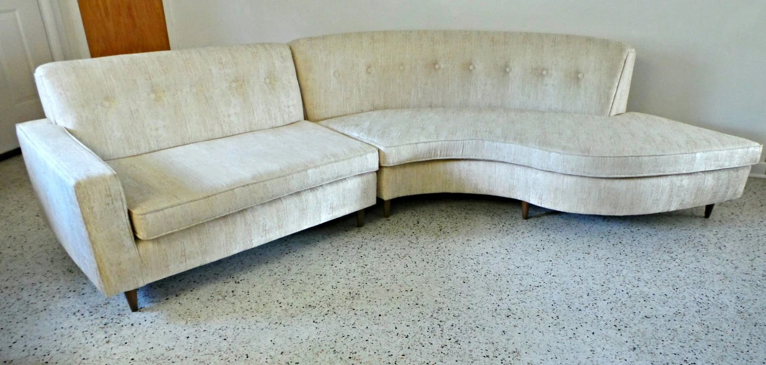 Mid Century Modern 50 S Long Low Beige Off White Sectional