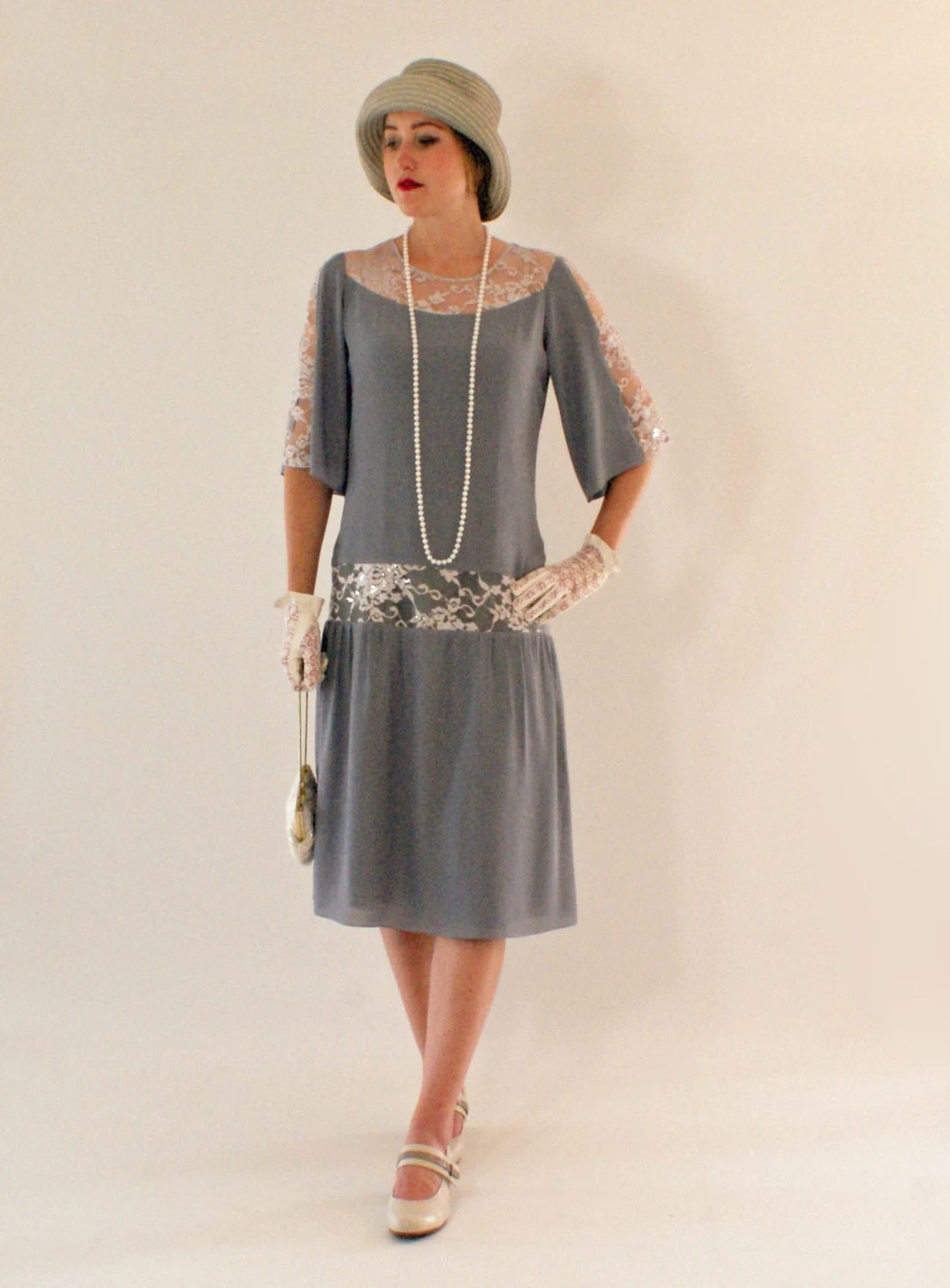 Grey Great Gatsby Dress With Elbow Length Sleeves S