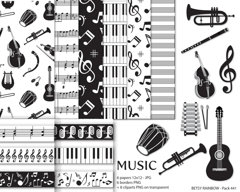 Music Digital Paper Pack Music Clipart Scrapbooking