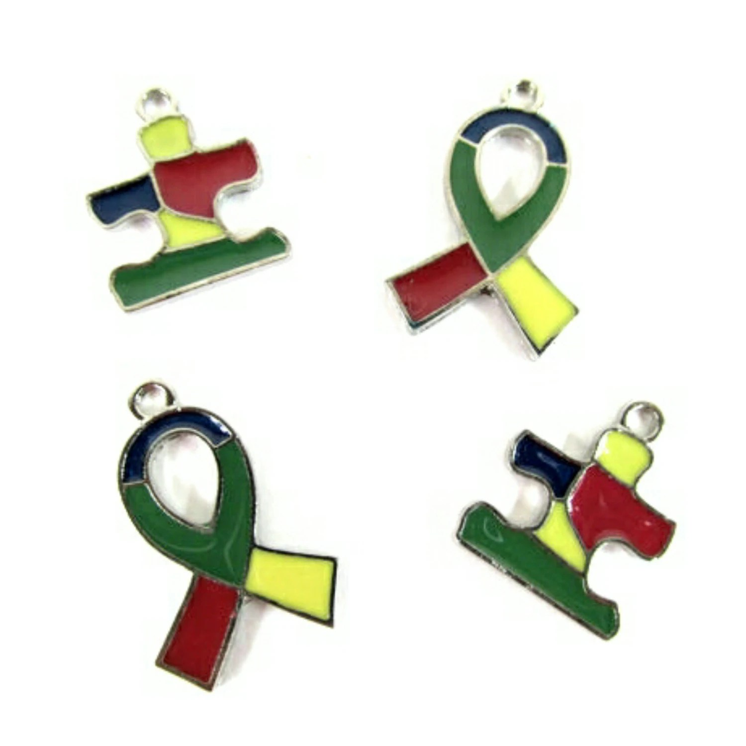 Ribbon Amp Puzzle Piece Autism Awareness Charms Jewelry