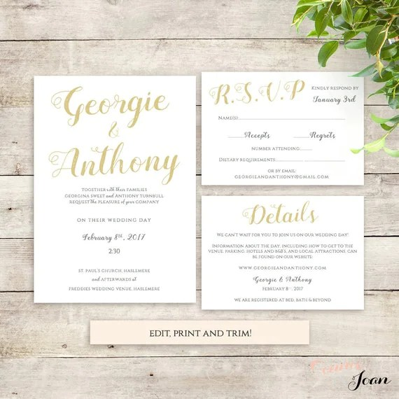 Wedding Invitation Set Printable Template Be Mine With Or