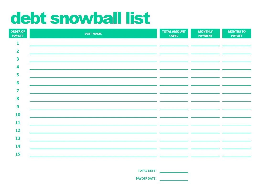 Debt Snowball Form Dave Ramsey