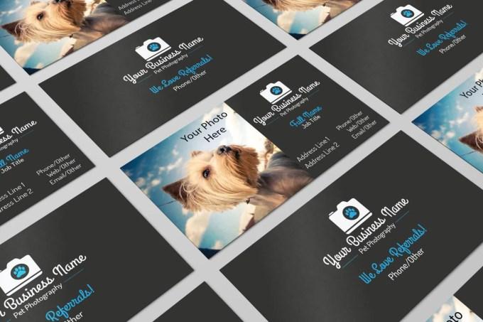 Premade Pet Photography Business Card Design PSD Photoshop
