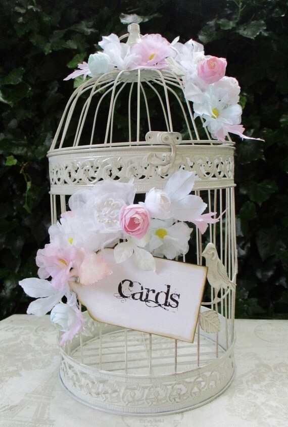 Birdcage Wedding Card Post Box Card Holder With Flowers And