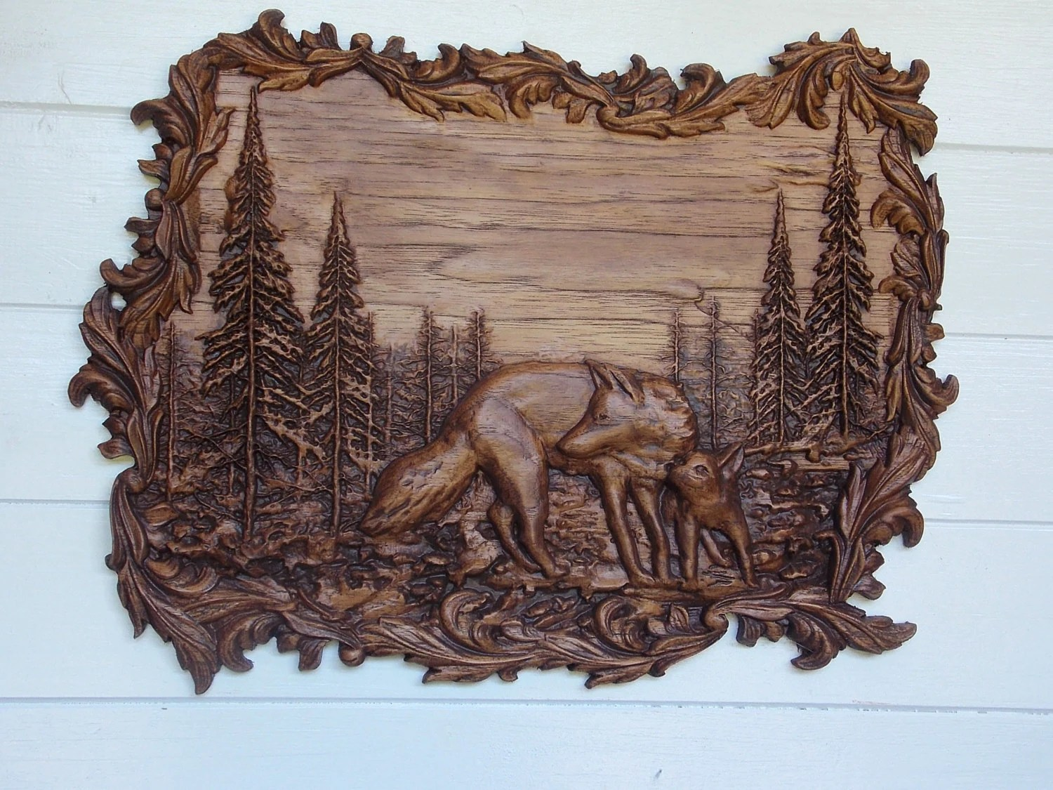 Wood Wall Art Wolves Wall Decor Wolf Wood Carving Wolf