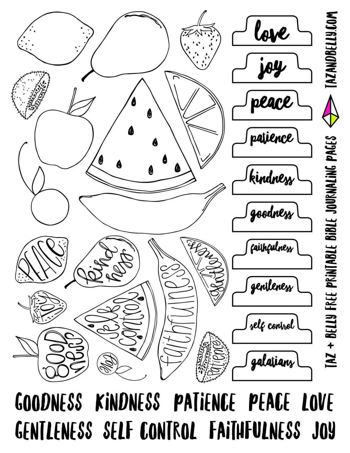 Printable Fruit Of The Spirit Bible Journaling Images