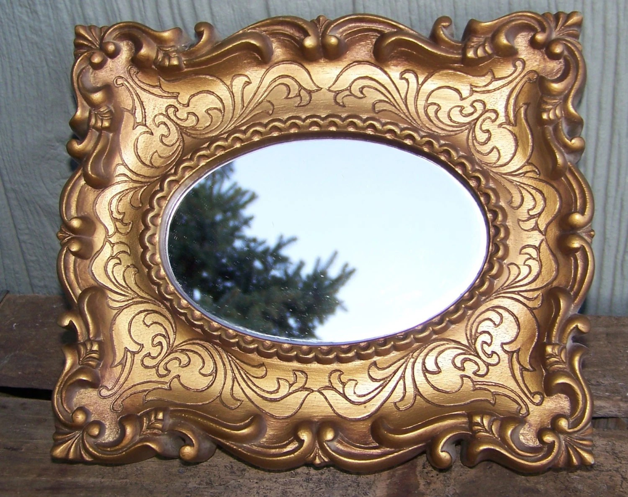 Vintage Mid Century Ornate Gold Framed Mirror Plastic Frame