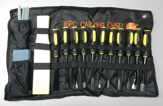 ... set 16 piece chisels woodworking hand tool kit with a cloth pouch