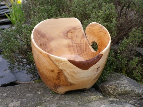 Wooden Yarn Bowl - Hand Turned Yew Wood 5