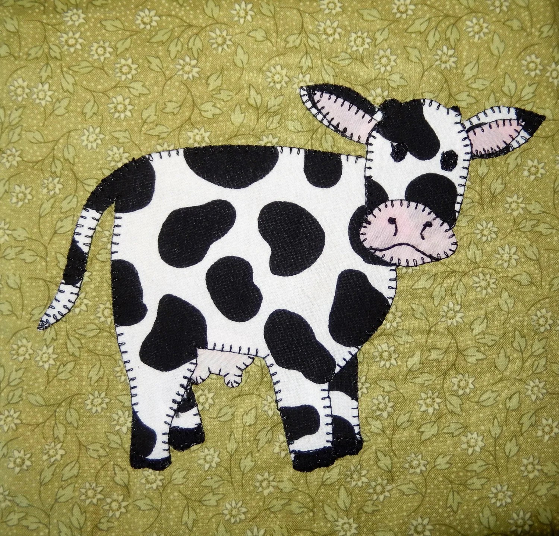 Cow Applique Quilt Block Pattern Farm Animal Applique