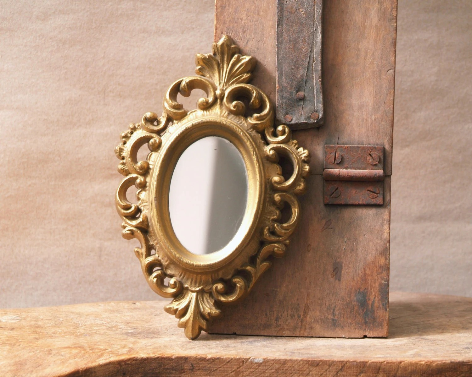 Vintage Gold Framed Mirror Small Oval Mirror Ornate Gold