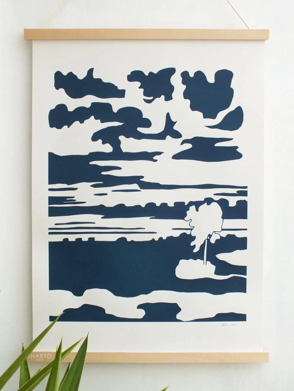 Seascape, midnight blue. ...