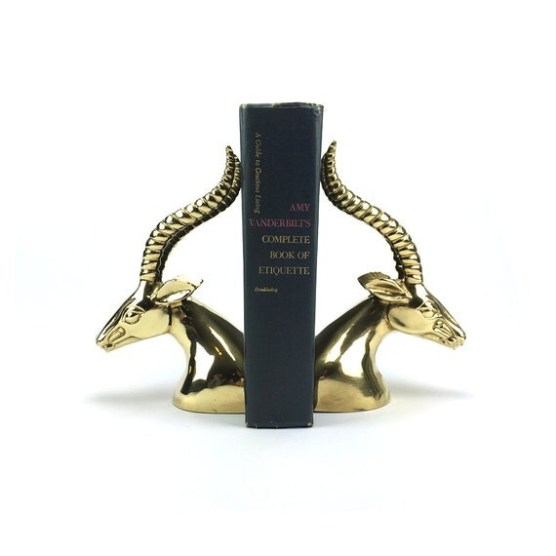 Vintage Brass Gazelle Head Bust Bookends - Man Cave Decor - Mid Century Hollywood Regency - Gold Antelope Antlers Horns - Woodlands Deer