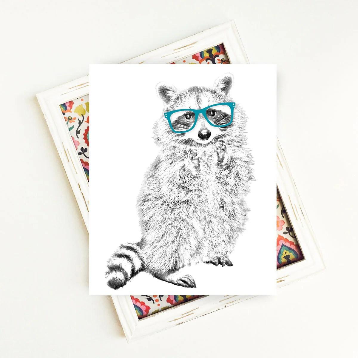 Raccoon Print Woodland Animals Animal Art Animal
