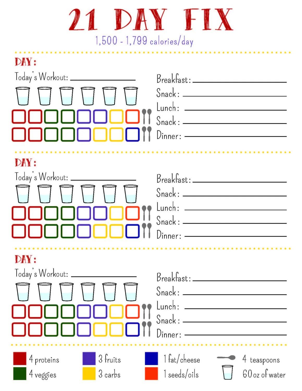 21 Day Fix Tracking Sheet Bracket By Allisonrainsdesigns