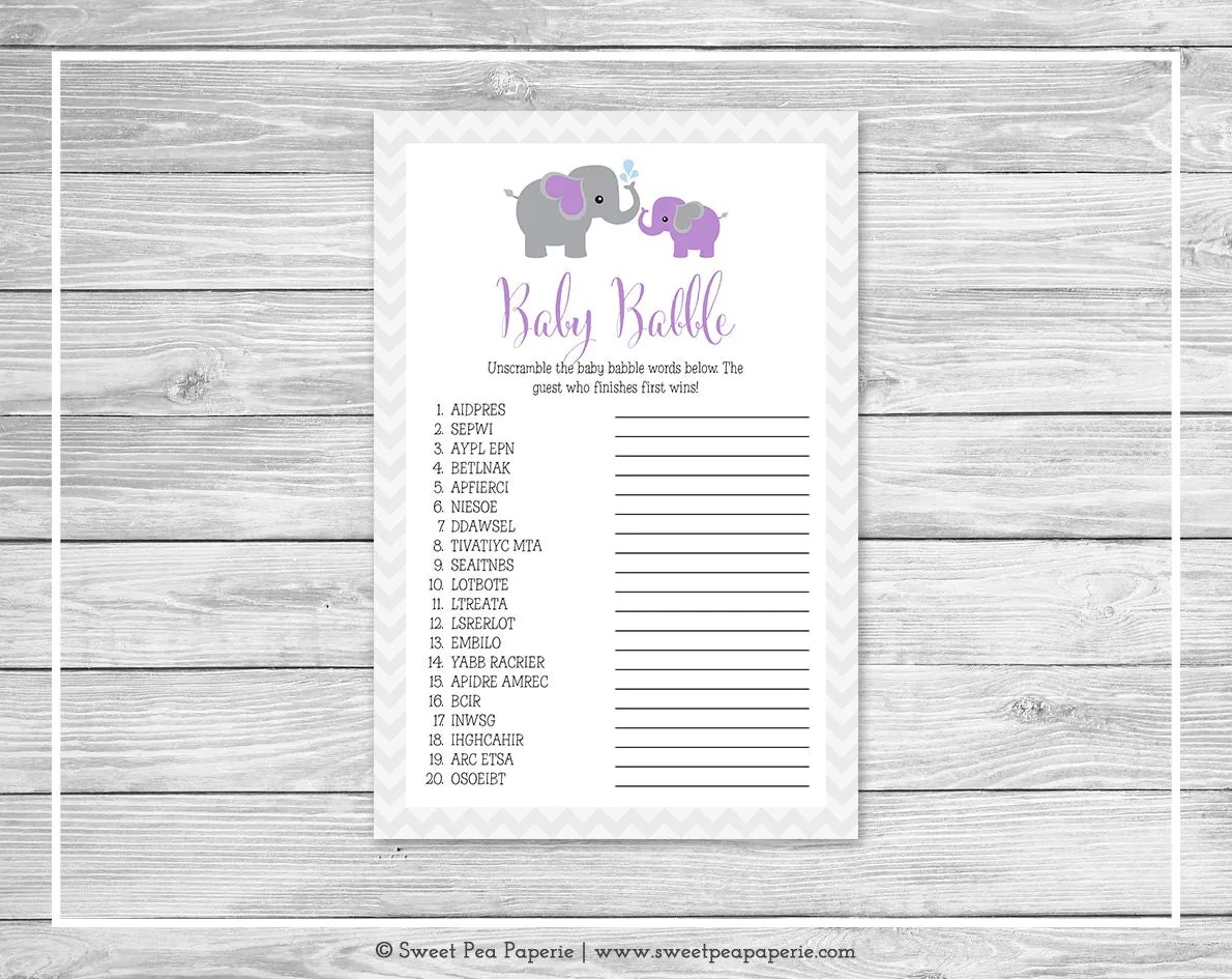 Elephant Baby Shower Baby Babble Game Printable Baby Shower