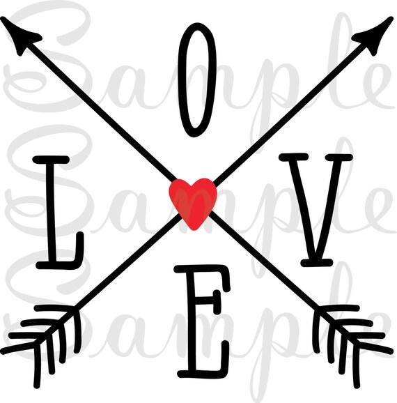 Download Love crossed arrows arrow SVG DFX jpeg png Cricut