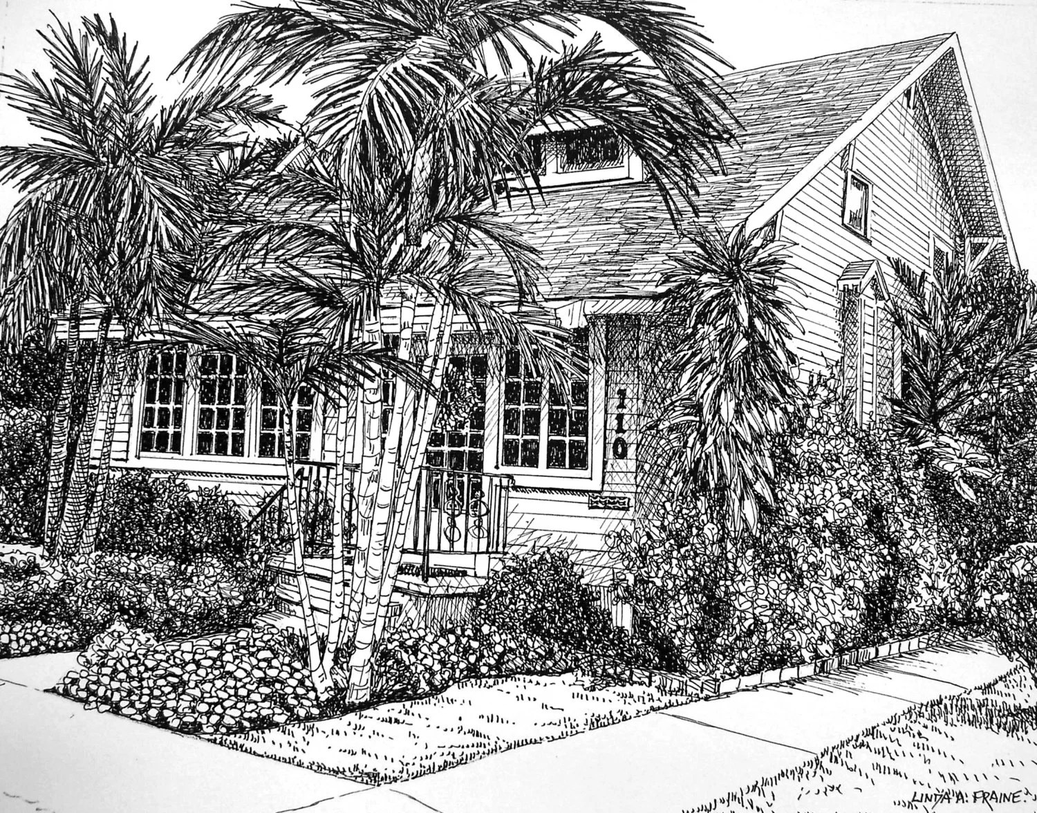Downloadable Print Pen And Ink Drawing Of Cottage In