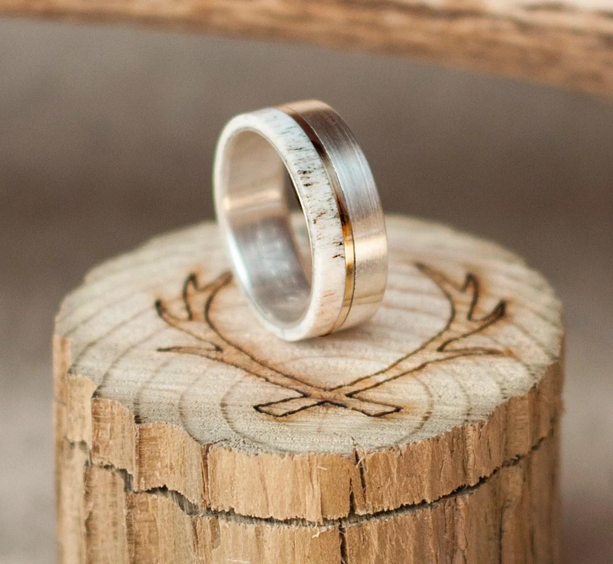 Mens Wedding Band Elk Antler Titanium Ring W 10K Gold Inlay
