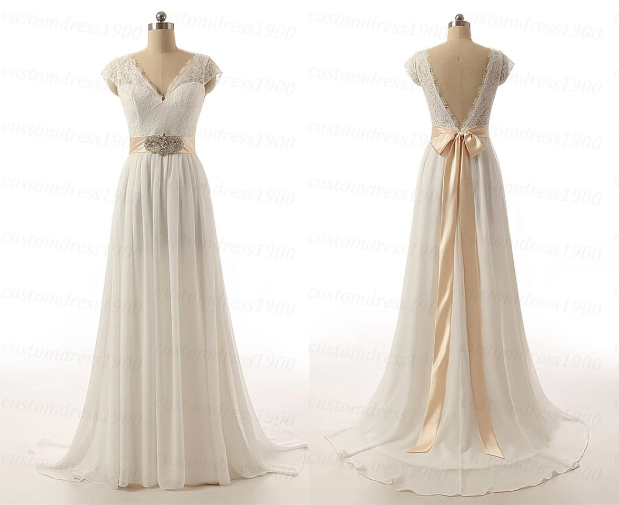 Sexy V-Back Cap Sleeve Handmade Chiffon Bridal Gowns