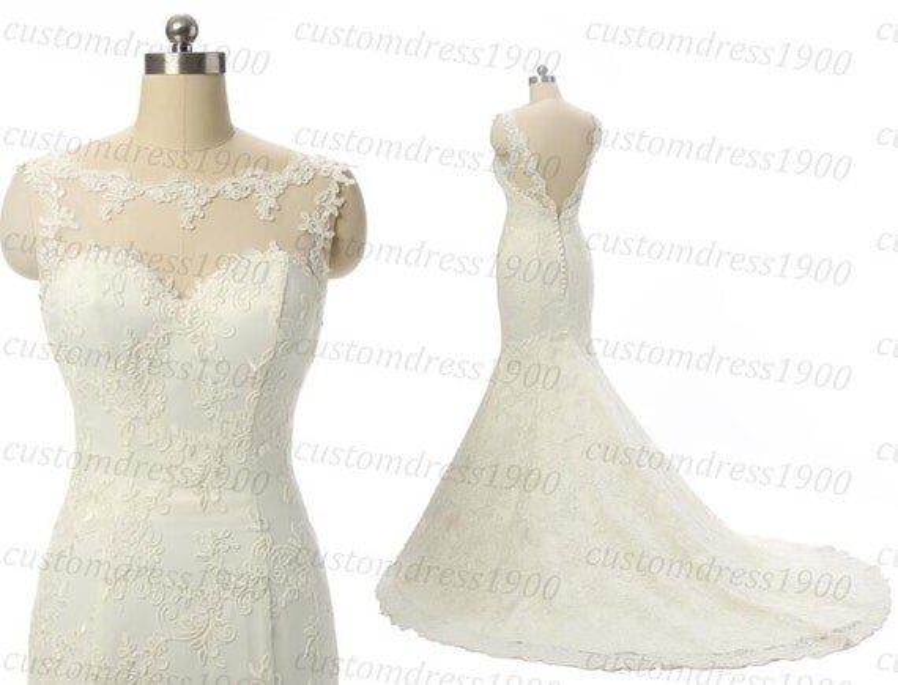 Vintage White/Ivory Cap Sleeve Wedding Dress By